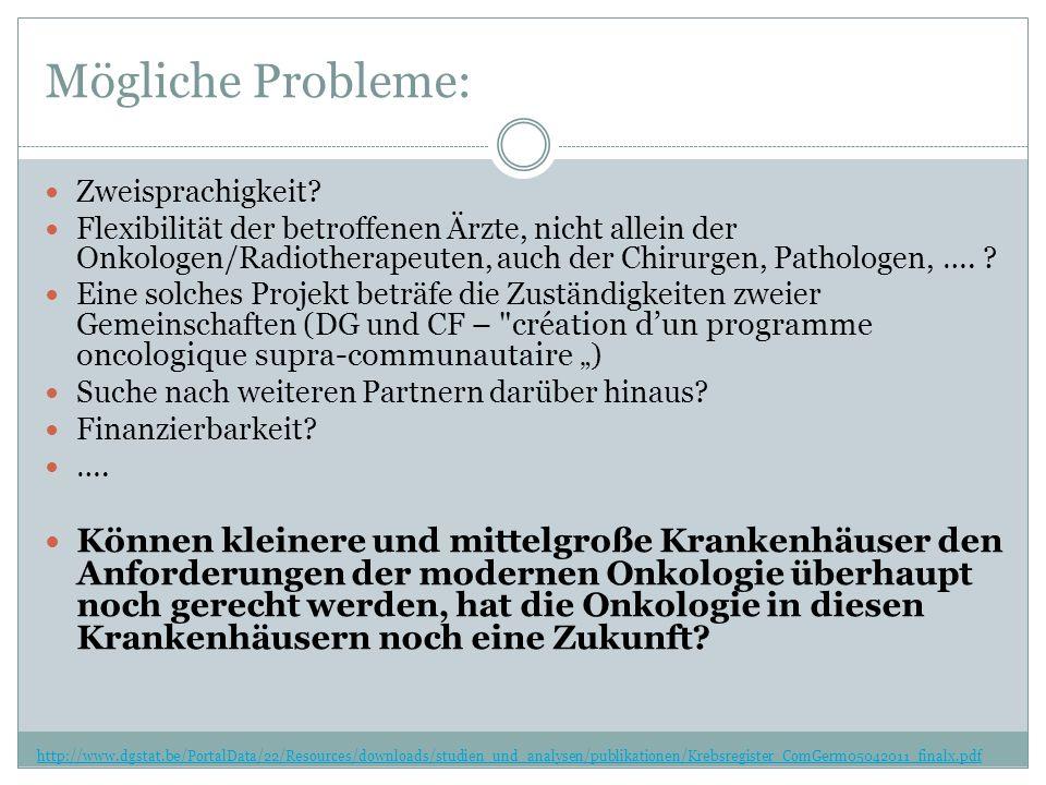Mögliche Probleme: http://www.dgstat.be/PortalData/22/Resources/downloads/studien_und_analysen/publikationen/Krebsregister_ComGerm05042011_finalx.pdf Zweisprachigkeit.