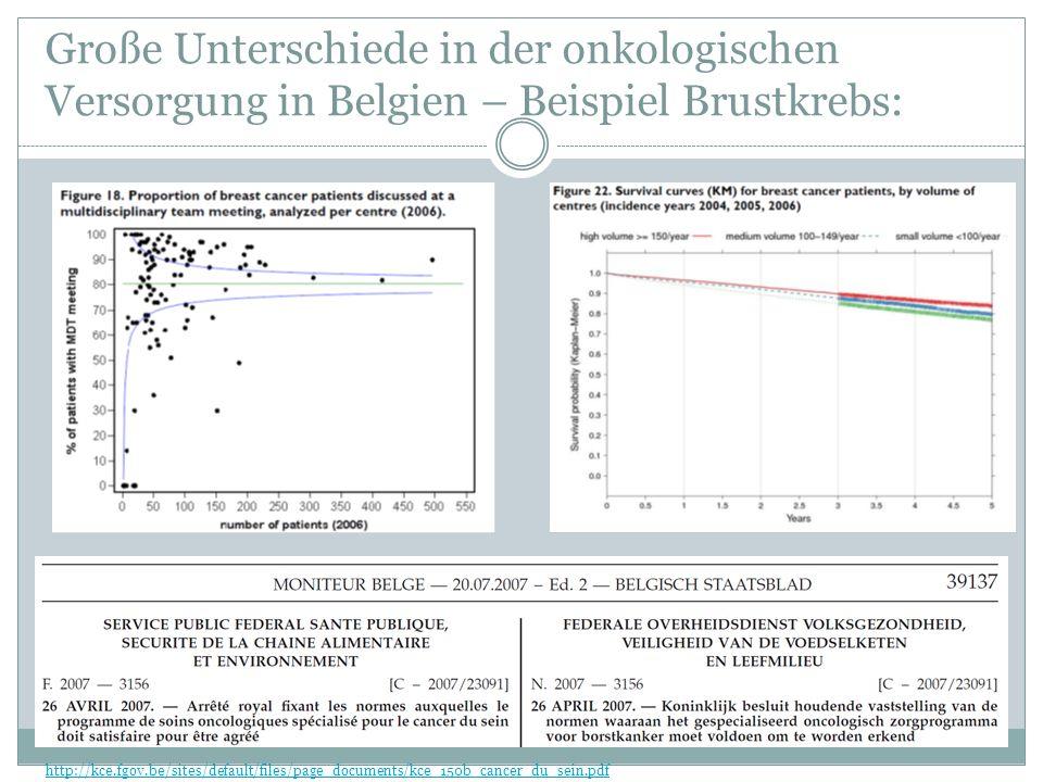 Große Unterschiede in der onkologischen Versorgung in Belgien – Beispiel Brustkrebs: http://kce.fgov.be/sites/default/files/page_documents/kce_150b_cancer_du_sein.pdf