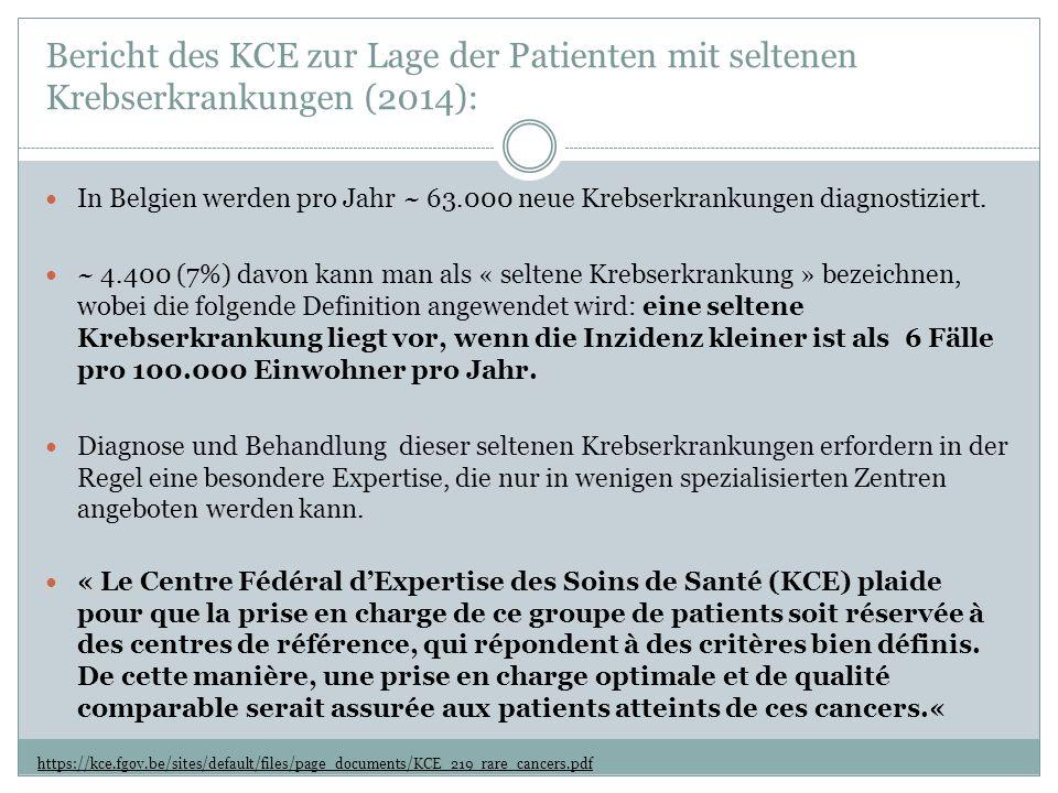 Bericht des KCE zur Lage der Patienten mit seltenen Krebserkrankungen (2014): https://kce.fgov.be/sites/default/files/page_documents/KCE_219_rare_cancers.pdf In Belgien werden pro Jahr ~ 63.000 neue Krebserkrankungen diagnostiziert.