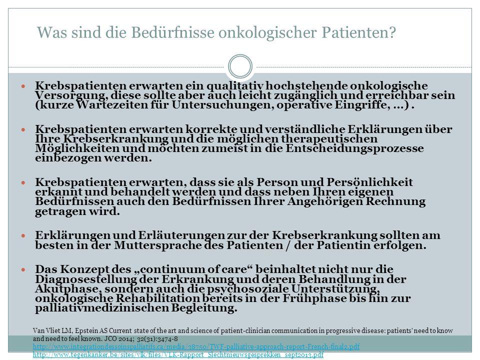 Was sind die Bedürfnisse onkologischer Patienten.
