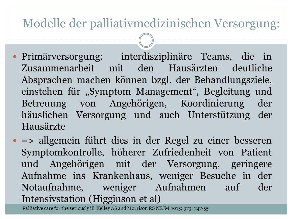 Modelle der palliativmedizinischen Versorgung: Primärversorgung: interdisziplinäre Teams, die in Zusammenarbeit mit den Hausärzten deutliche Absprachen machen können bzgl.