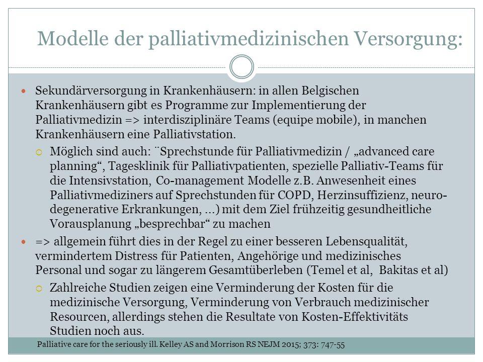 Modelle der palliativmedizinischen Versorgung: Sekundärversorgung in Krankenhäusern: in allen Belgischen Krankenhäusern gibt es Programme zur Implementierung der Palliativmedizin => interdisziplinäre Teams (equipe mobile), in manchen Krankenhäusern eine Palliativstation.