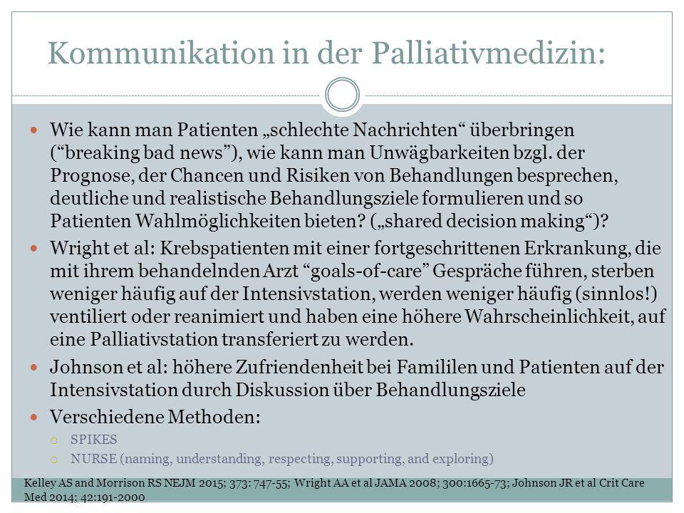 """Kommunikation in der Palliativmedizin: Wie kann man Patienten """"schlechte Nachrichten überbringen ( breaking bad news ), wie kann man Unwägbarkeiten bzgl."""