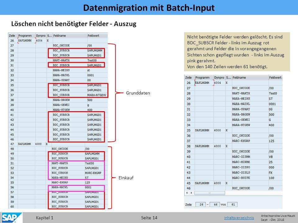 Kapitel 1 Seite 14 Datenmigration mit Batch-Input Inhaltsverzeichnis Löschen nicht benötigter Felder - Auszug Nicht benötigte Felder werden gelöscht.