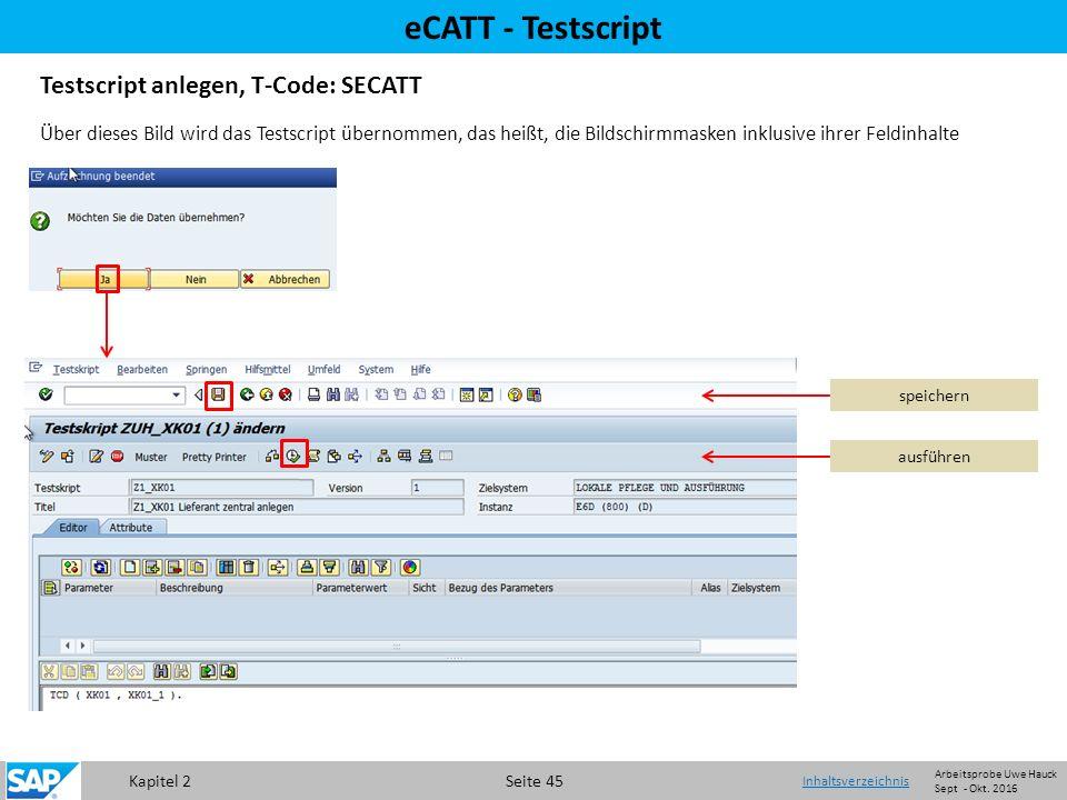 Kapitel 2 Seite 45 eCATT - Testscript Testscript anlegen, T-Code: SECATT Über dieses Bild wird das Testscript übernommen, das heißt, die Bildschirmmasken inklusive ihrer Feldinhalte speichern ausführen Inhaltsverzeichnis Arbeitsprobe Uwe Hauck Sept - Okt.