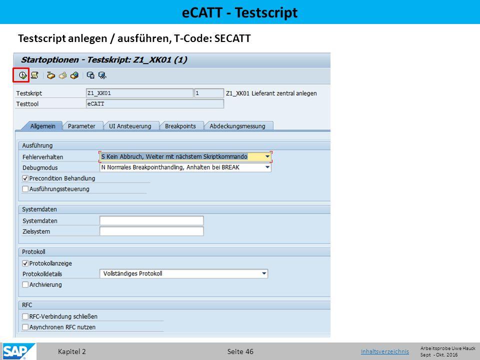 Kapitel 2 Seite 46 eCATT - Testscript Testscript anlegen / ausführen, T-Code: SECATT Startoptionen für Testsript pflegen und Überprüfung Testscript auf Fehler Inhaltsverzeichnis Arbeitsprobe Uwe Hauck Sept - Okt.
