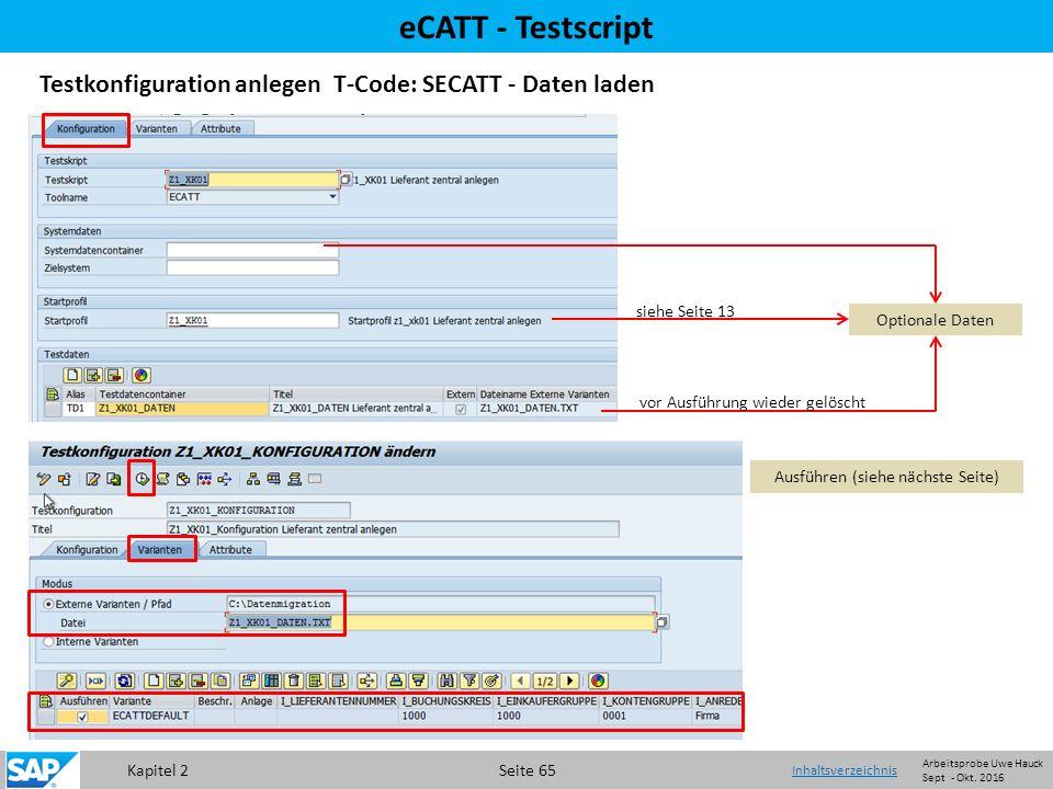 Kapitel 2 Seite 65 eCATT - Testscript Testkonfiguration anlegen T-Code: SECATT - Daten laden Optionale Daten Ausführen (siehe nächste Seite) vor Ausführung wieder gelöscht siehe Seite 13 Inhaltsverzeichnis Arbeitsprobe Uwe Hauck Sept - Okt.