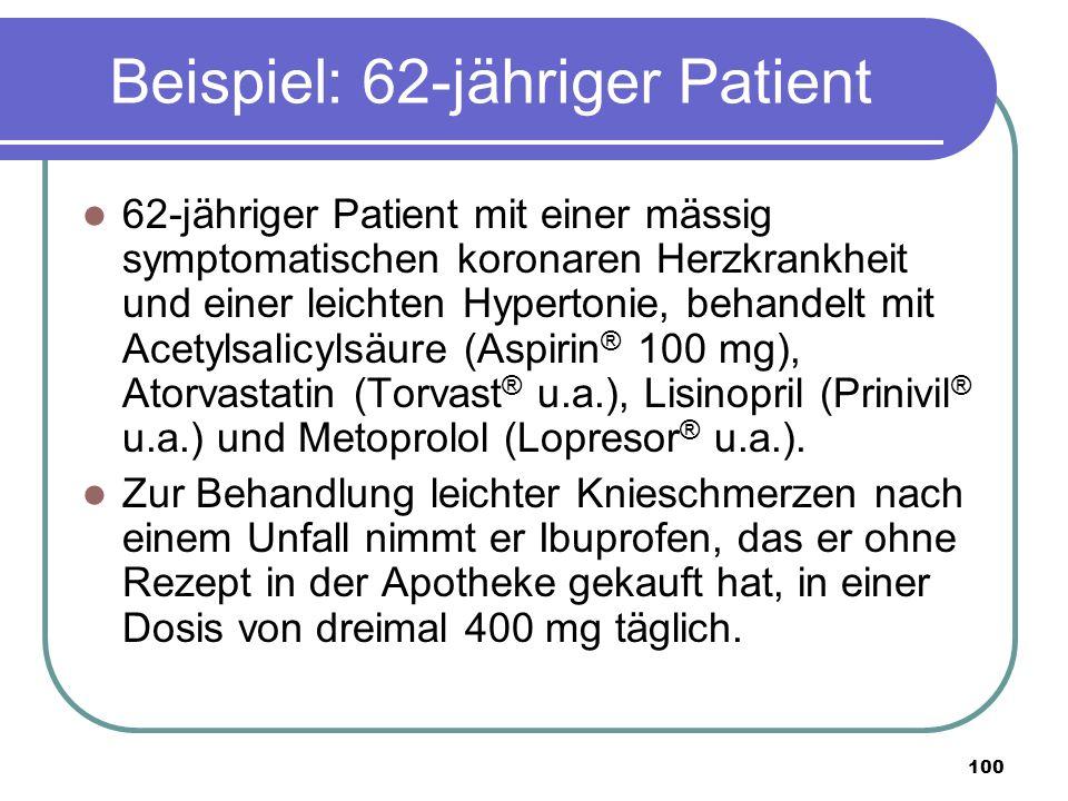 100 Beispiel: 62-jähriger Patient 62-jähriger Patient mit einer mässig symptomatischen koronaren Herzkrankheit und einer leichten Hypertonie, behandelt mit Acetylsalicylsäure (Aspirin ® 100 mg), Atorvastatin (Torvast ® u.a.), Lisinopril (Prinivil ® u.a.) und Metoprolol (Lopresor ® u.a.).