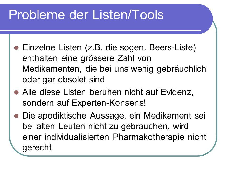 Probleme der Listen/Tools Einzelne Listen (z.B. die sogen.