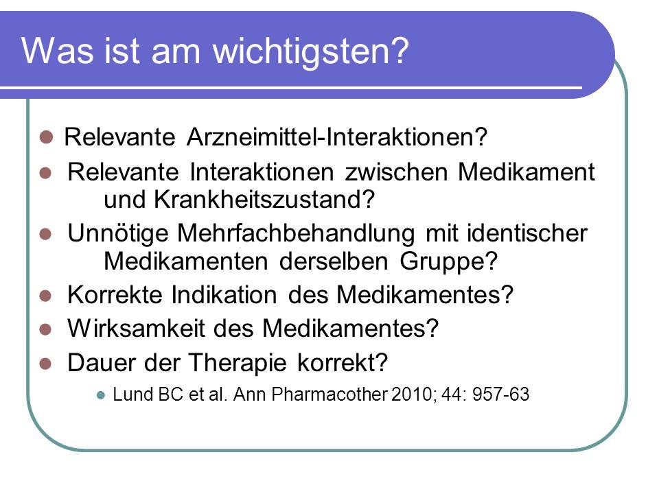 Relevante Arzneimittel-Interaktionen.