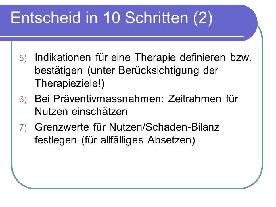 Entscheid in 10 Schritten (2) 5) Indikationen für eine Therapie definieren bzw.