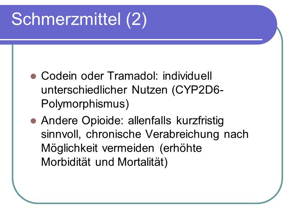 Schmerzmittel (2) Codein oder Tramadol: individuell unterschiedlicher Nutzen (CYP2D6- Polymorphismus) Andere Opioide: allenfalls kurzfristig sinnvoll, chronische Verabreichung nach Möglichkeit vermeiden (erhöhte Morbidität und Mortalität)