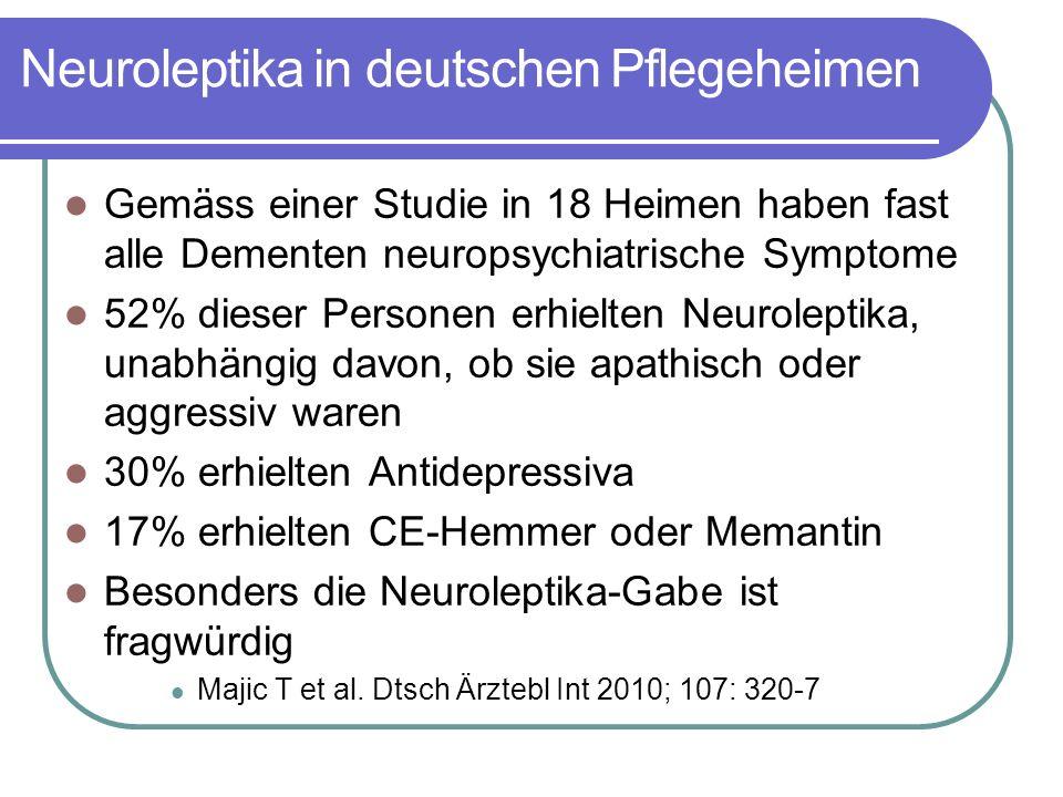 Neuroleptika in deutschen Pflegeheimen Gemäss einer Studie in 18 Heimen haben fast alle Dementen neuropsychiatrische Symptome 52% dieser Personen erhielten Neuroleptika, unabhängig davon, ob sie apathisch oder aggressiv waren 30% erhielten Antidepressiva 17% erhielten CE-Hemmer oder Memantin Besonders die Neuroleptika-Gabe ist fragwürdig Majic T et al.