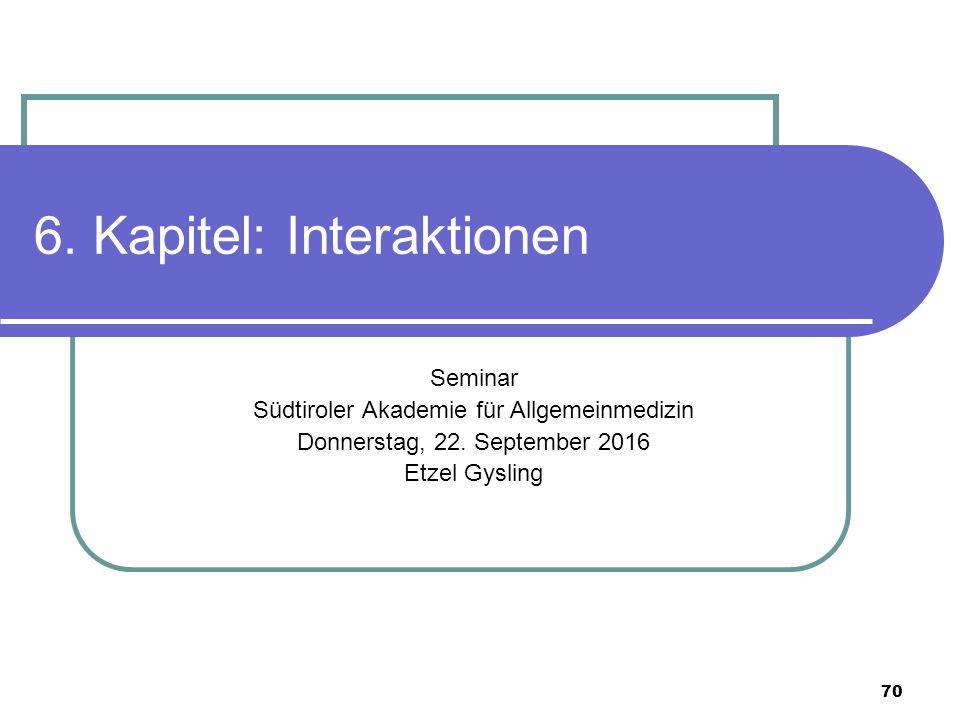 70 6. Kapitel: Interaktionen Seminar Südtiroler Akademie für Allgemeinmedizin Donnerstag, 22.