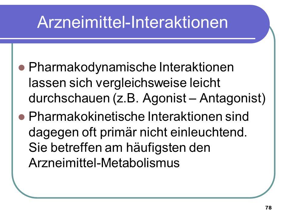 78 Arzneimittel-Interaktionen Pharmakodynamische Interaktionen lassen sich vergleichsweise leicht durchschauen (z.B.