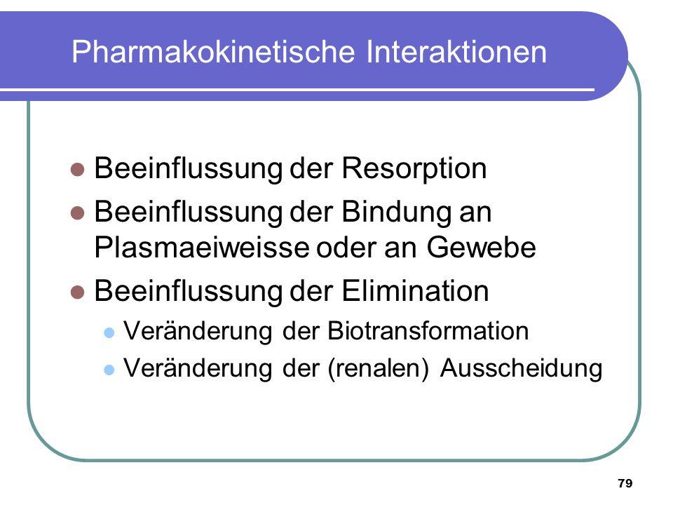 79 Pharmakokinetische Interaktionen Beeinflussung der Resorption Beeinflussung der Bindung an Plasmaeiweisse oder an Gewebe Beeinflussung der Elimination Veränderung der Biotransformation Veränderung der (renalen) Ausscheidung
