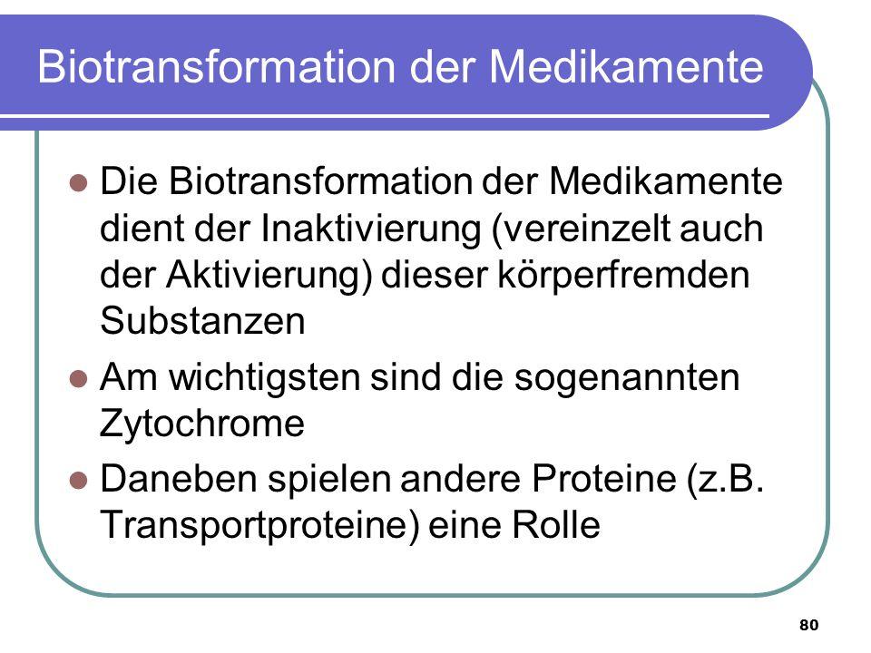 80 Biotransformation der Medikamente Die Biotransformation der Medikamente dient der Inaktivierung (vereinzelt auch der Aktivierung) dieser körperfremden Substanzen Am wichtigsten sind die sogenannten Zytochrome Daneben spielen andere Proteine (z.B.
