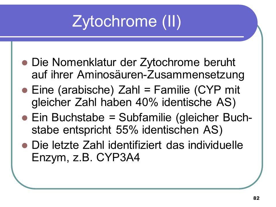 82 Zytochrome (II) Die Nomenklatur der Zytochrome beruht auf ihrer Aminosäuren-Zusammensetzung Eine (arabische) Zahl = Familie (CYP mit gleicher Zahl haben 40% identische AS) Ein Buchstabe = Subfamilie (gleicher Buch- stabe entspricht 55% identischen AS) Die letzte Zahl identifiziert das individuelle Enzym, z.B.