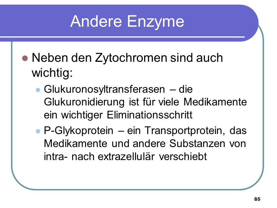 85 Andere Enzyme Neben den Zytochromen sind auch wichtig: Glukuronosyltransferasen – die Glukuronidierung ist für viele Medikamente ein wichtiger Eliminationsschritt P-Glykoprotein – ein Transportprotein, das Medikamente und andere Substanzen von intra- nach extrazellulär verschiebt