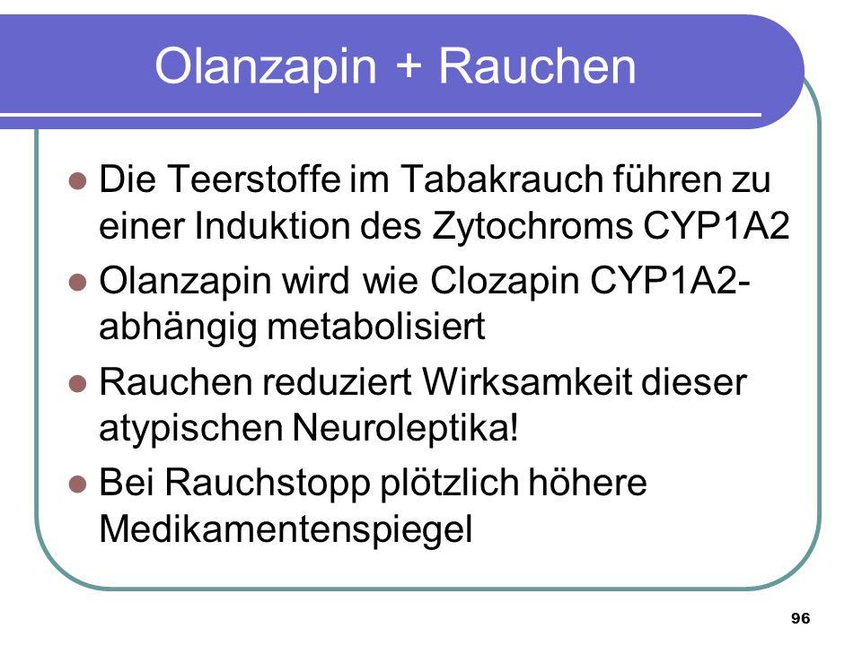 96 Olanzapin + Rauchen Die Teerstoffe im Tabakrauch führen zu einer Induktion des Zytochroms CYP1A2 Olanzapin wird wie Clozapin CYP1A2- abhängig metabolisiert Rauchen reduziert Wirksamkeit dieser atypischen Neuroleptika.