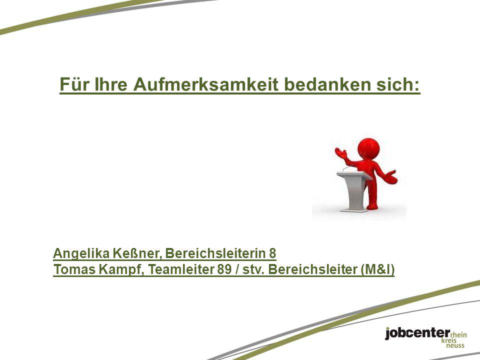 Für Ihre Aufmerksamkeit bedanken sich: Angelika Keßner, Bereichsleiterin 8 Tomas Kampf, Teamleiter 89 / stv.
