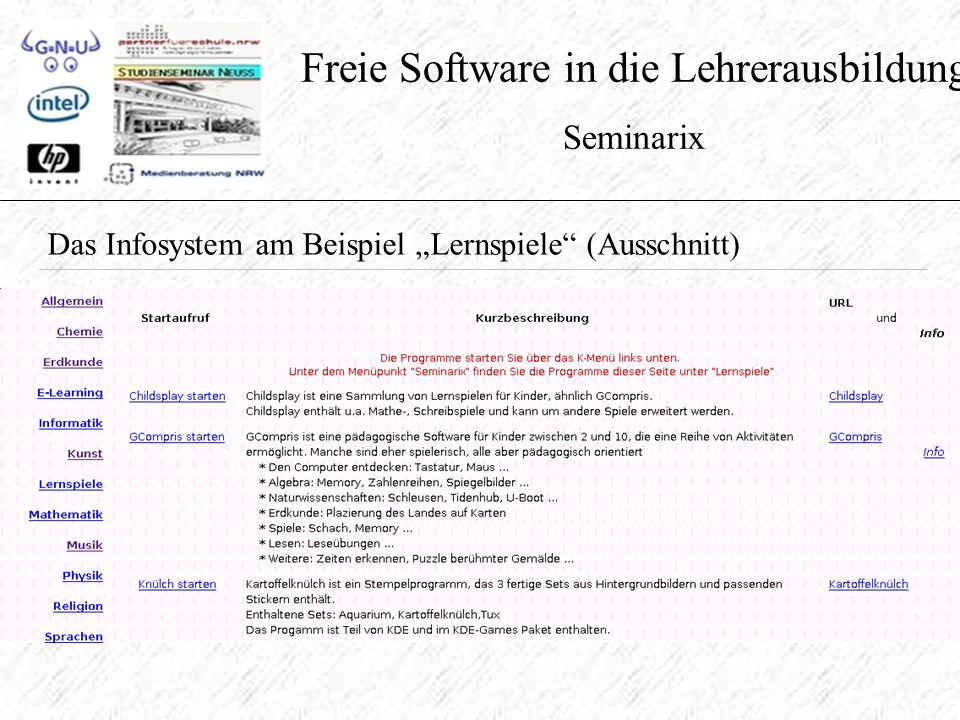"""Freie Software in die Lehrerausbildung Seminarix Das Infosystem am Beispiel """"Lernspiele (Ausschnitt)"""