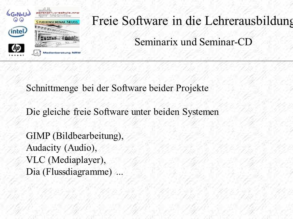 Freie Software in die Lehrerausbildung Seminarix und Seminar-CD Schnittmenge bei der Software beider Projekte Die gleiche freie Software unter beiden Systemen GIMP (Bildbearbeitung), Audacity (Audio), VLC (Mediaplayer), Dia (Flussdiagramme)...