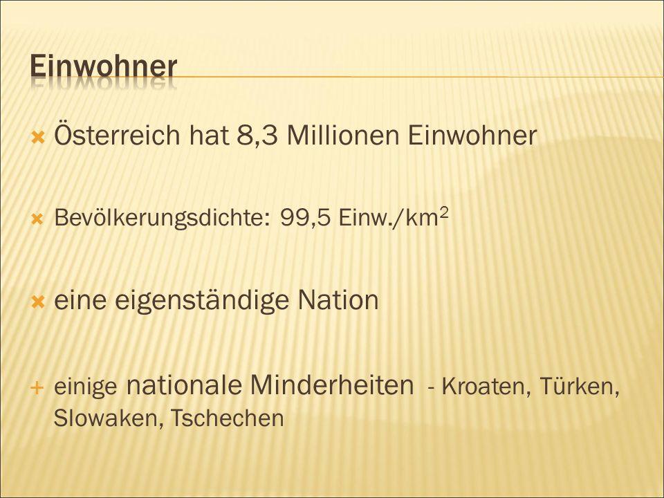  Österreich hat 8,3 Millionen Einwohner  Bevölkerungsdichte: 99,5 Einw./km 2  eine eigenständige Nation  einige nationale Minderheiten - Kroaten, Türken, Slowaken, Tschechen