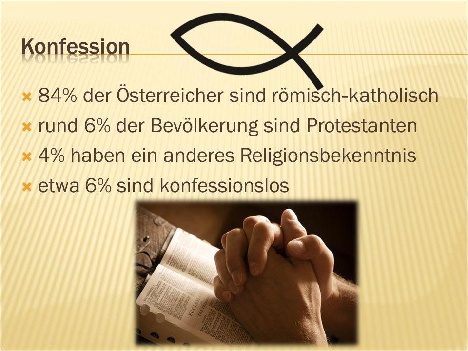  84% der Österreicher sind römisch - katholisch  rund 6% der Bevölkerung sind Protestanten  4% haben ein anderes Religionsbekenntnis  etwa 6% sind konfessionslos