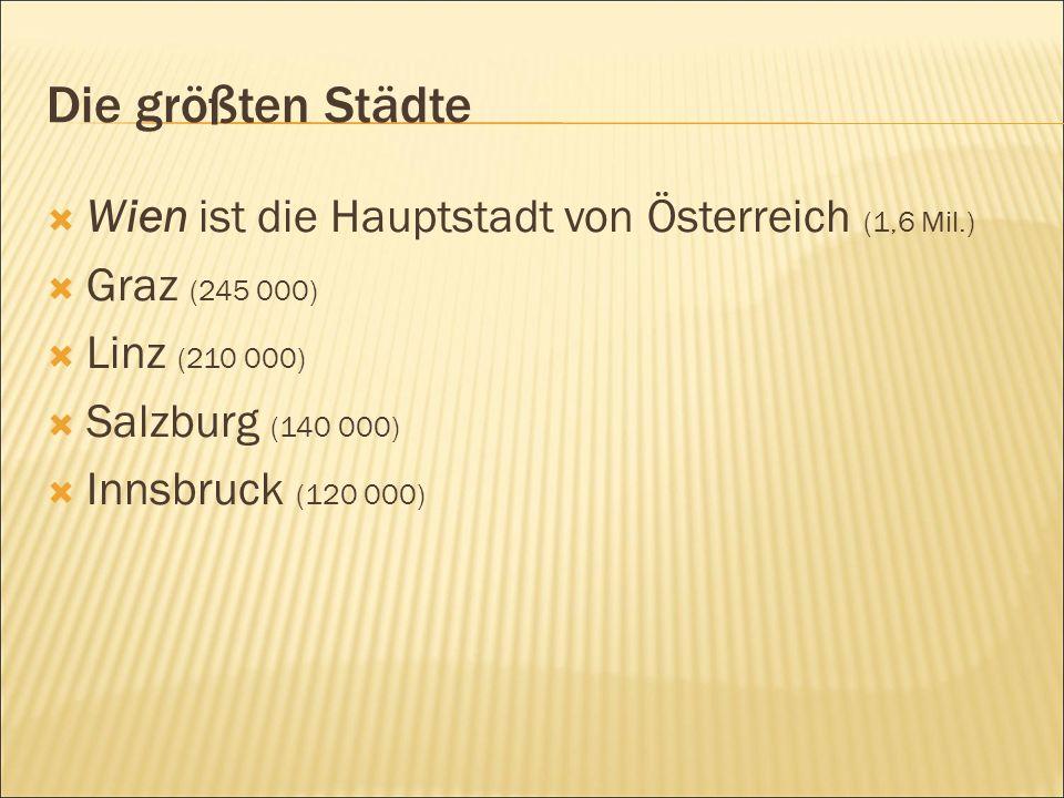 Die größten Städte  Wien ist die Hauptstadt von Österreich (1,6 Mil.)  Graz (245 000)  Linz (210 000)  Salzburg (140 000)  Innsbruck (120 000)