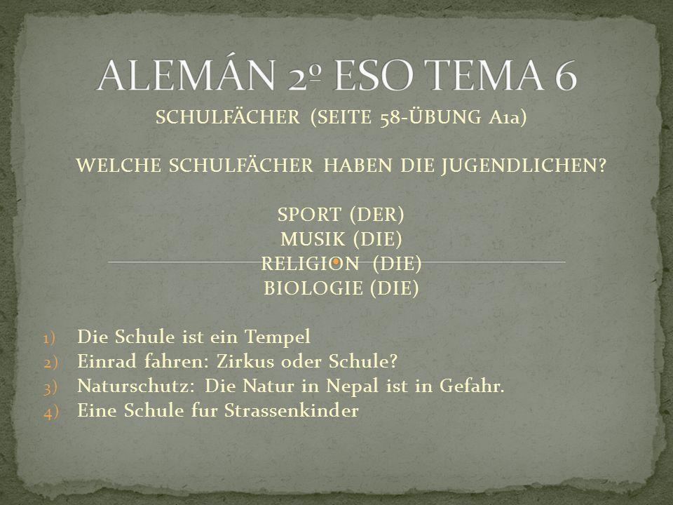 SCHULFÄCHER (SEITE 58-ÜBUNG A1a) WELCHE SCHULFÄCHER HABEN DIE JUGENDLICHEN.