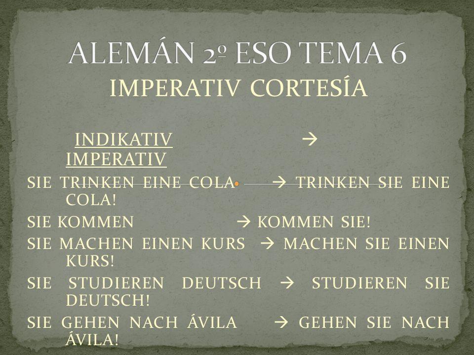 IMPERATIV CORTESÍA INDIKATIV  IMPERATIV SIE TRINKEN EINE COLA  TRINKEN SIE EINE COLA.