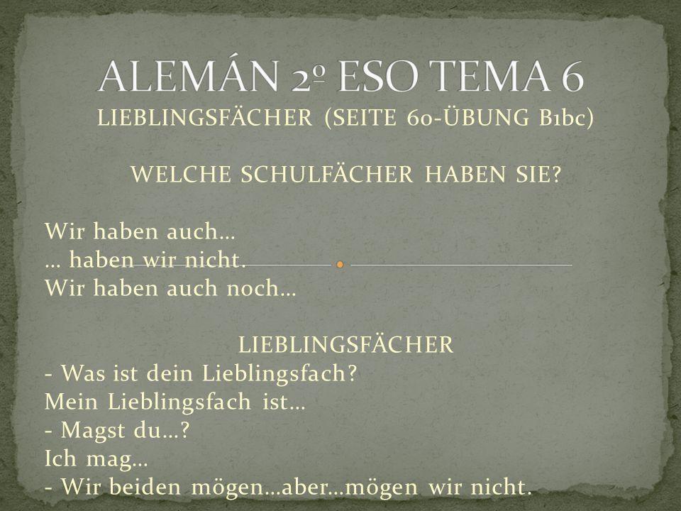 LIEBLINGSFÄCHER (SEITE 60-ÜBUNG B1bc) WELCHE SCHULFÄCHER HABEN SIE.