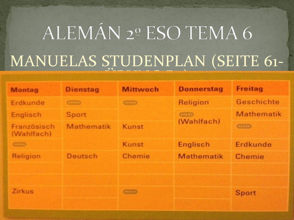 MANUELAS STUDENPLAN (SEITE 61- ÜBUNG B2)