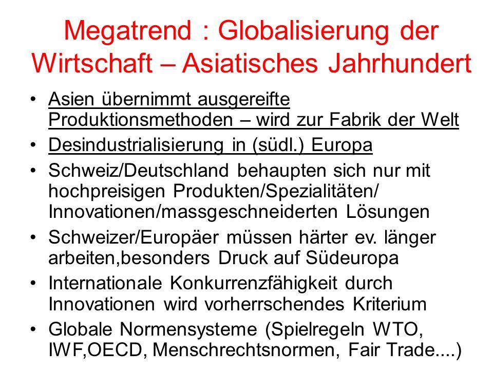 Megatrend : Globalisierung der Wirtschaft – Asiatisches Jahrhundert Asien übernimmt ausgereifte Produktionsmethoden – wird zur Fabrik der Welt Desindustrialisierung in (südl.) Europa Schweiz/Deutschland behaupten sich nur mit hochpreisigen Produkten/Spezialitäten/ Innovationen/massgeschneiderten Lösungen Schweizer/Europäer müssen härter ev.