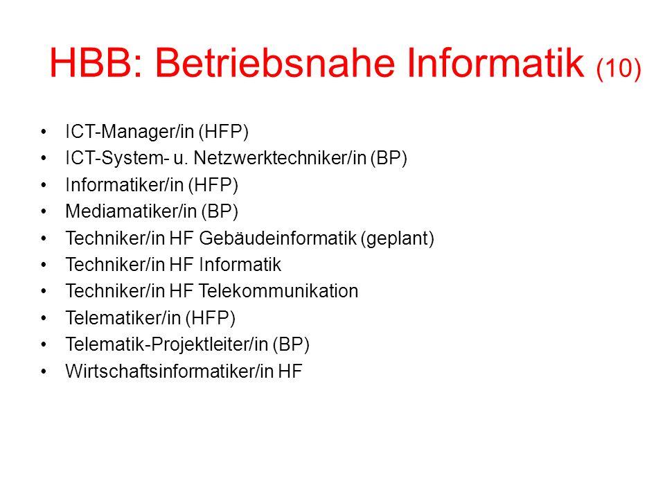 HBB: Betriebsnahe Informatik (10) ICT-Manager/in (HFP) ICT-System- u.