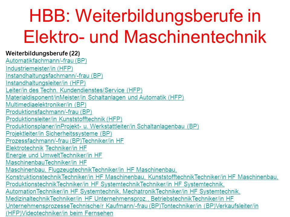 HBB: Weiterbildungsberufe in Elektro- und Maschinentechnik Weiterbildungsberufe (22) Automatikfachmann/-frau (BP) Ind u striemeister/in (HFP) Instandhaltungsfachmann/-frau (BP) Instandhaltungsleiter/in (HFP) Leiter/in des Techn.