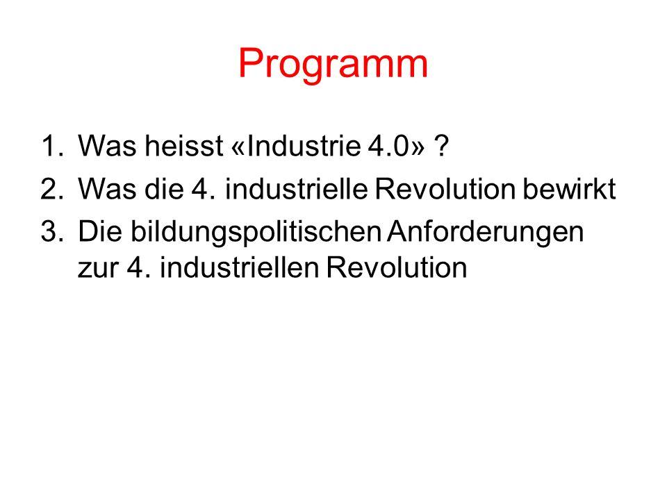 Programm 1.Was heisst «Industrie 4.0» . 2.Was die 4.
