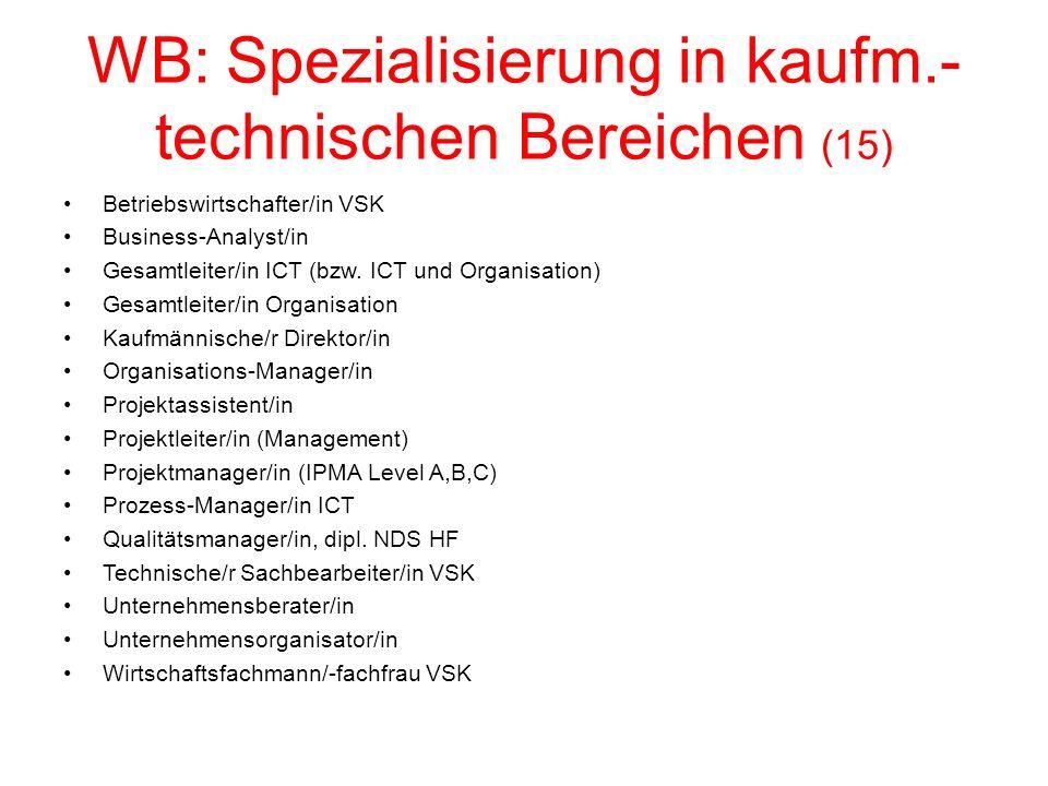 WB: Spezialisierung in kaufm.- technischen Bereichen (15) Betriebswirtschafter/in VSK Business-Analyst/in Gesamtleiter/in ICT (bzw.