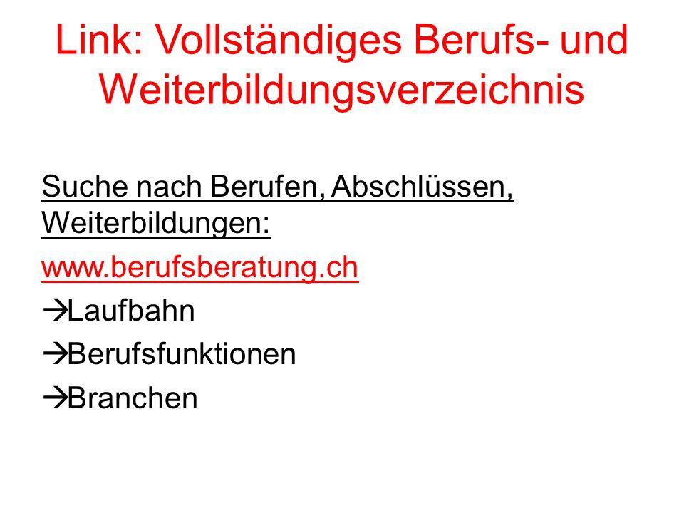 Link: Vollständiges Berufs- und Weiterbildungsverzeichnis Suche nach Berufen, Abschlüssen, Weiterbildungen: www.berufsberatung.ch  Laufbahn  Berufsfunktionen  Branchen