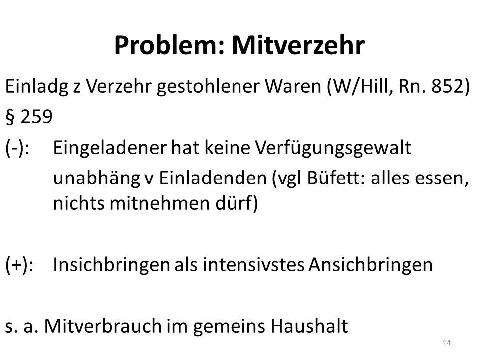 Problem: Mitverzehr Einladg z Verzehr gestohlener Waren (W/Hill, Rn.