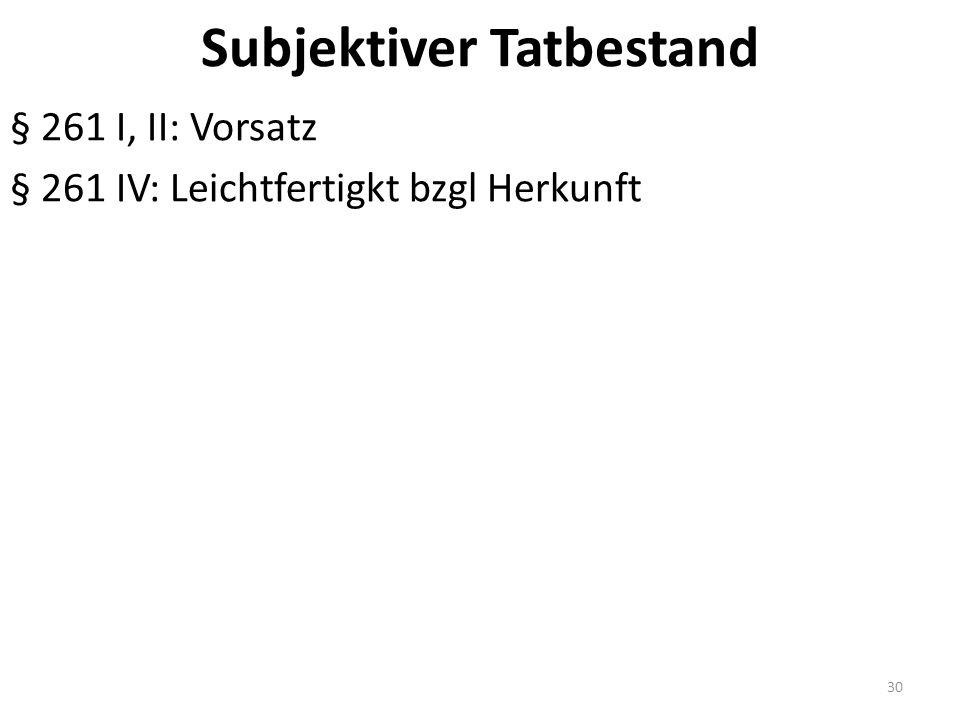 Subjektiver Tatbestand § 261 I, II: Vorsatz § 261 IV: Leichtfertigkt bzgl Herkunft 30