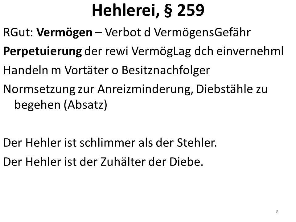 Hehlerei, § 259 RGut: Vermögen – Verbot d VermögensGefähr Perpetuierung der rewi VermögLag dch einvernehml Handeln m Vortäter o Besitznachfolger Normsetzung zur Anreizminderung, Diebstähle zu begehen (Absatz) Der Hehler ist schlimmer als der Stehler.