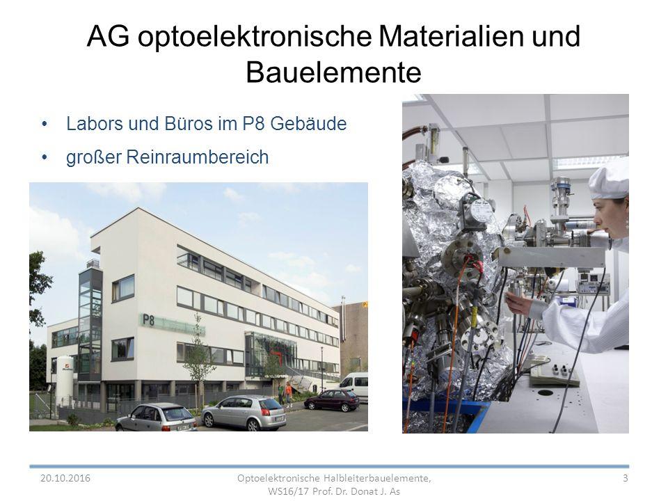 3 AG optoelektronische Materialien und Bauelemente Labors und Büros im P8 Gebäude großer Reinraumbereich Optoelektronische Halbleiterbauelemente, WS16/17 Prof.