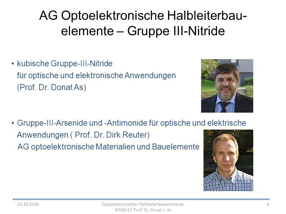 4 AG Optoelektronische Halbleiterbau- elemente – Gruppe III-Nitride kubische Gruppe-III-Nitride für optische und elektronische Anwendungen (Prof.