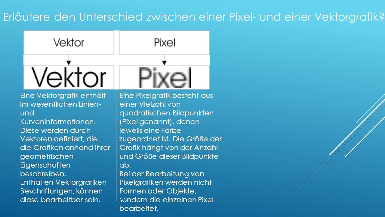 Erläutere den Unterschied zwischen einer Pixel- und einer Vektorgrafik.