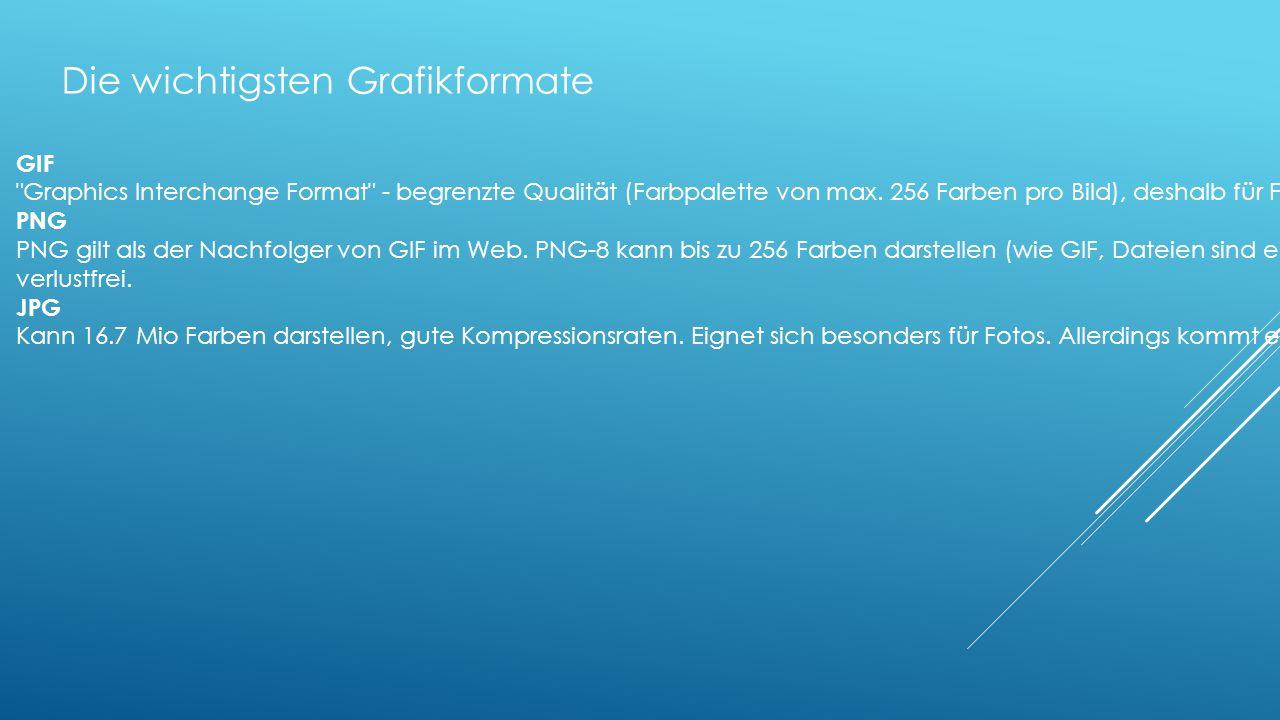 Die wichtigsten Grafikformate GIF Graphics Interchange Format - begrenzte Qualität (Farbpalette von max.