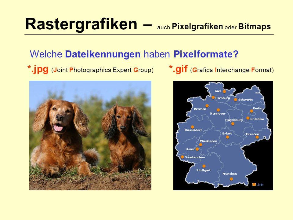 Rastergrafiken – auch Pixelgrafiken oder Bitmaps Welche Dateikennungen haben Pixelformate.