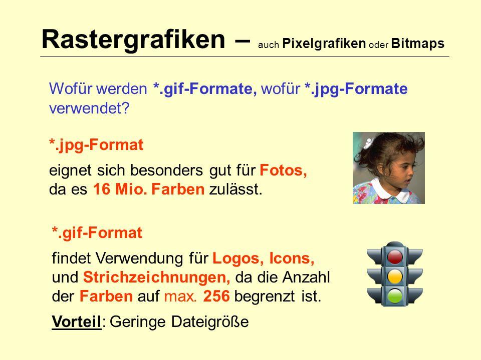 Rastergrafiken – auch Pixelgrafiken oder Bitmaps Wofür werden *.gif-Formate, wofür *.jpg-Formate verwendet.