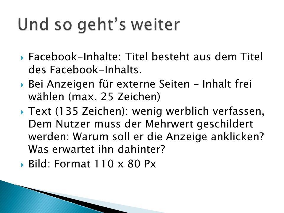  Facebook-Inhalte: Titel besteht aus dem Titel des Facebook-Inhalts.